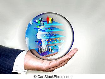 soa, negócio, globo, mão, layered, arquitetura, homem