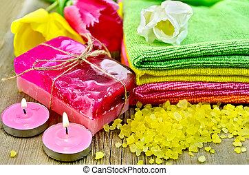 Soap and bath salt with tulips
