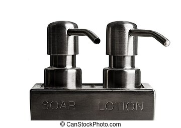 Soap and lotion dispenser on a white background