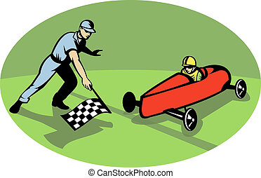 Soap box derby racing winning finish line with man waving checkered flag.