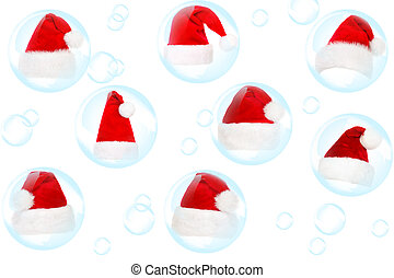 Soap bubble and fur-cap on a white background
