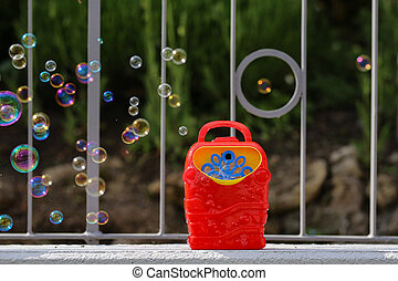 Soap bubble in the air from bubble machine