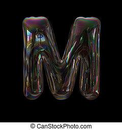soap bubble letter m capital 3d transparent font childhood imagination or fragility concept
