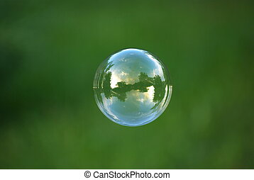 Soap bubble on the sky background.