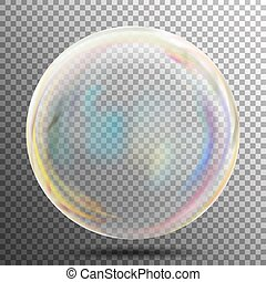 Soap Bubble. Transparent Realistic Bubble With Rainbow Reflection. Ready To Apply To Your Design. See Through Element. Vector Illustration.