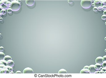 Soap bubbles abstract background with rainbow colored airy foam