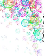 Soap Bubbles Background - Colorful soap bubbles on white...