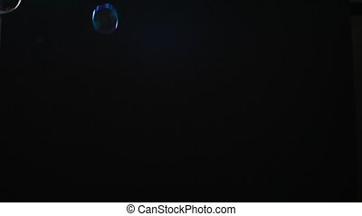 Soap Bubbles. Black Background
