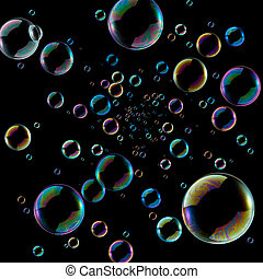 soap bubbles coming out from middle against black background