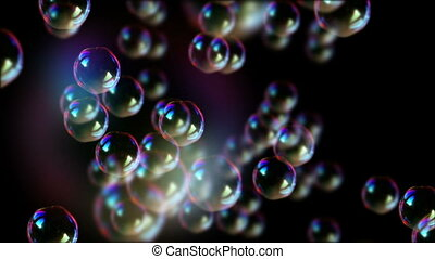Soap bubbles float in air