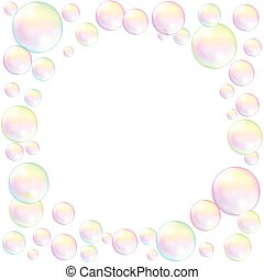 Soap Bubbles Frame Background White
