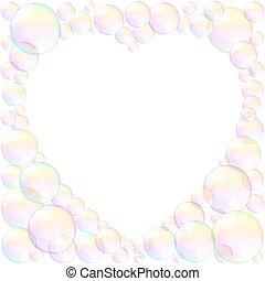 Soap Bubbles Heart Frame Love