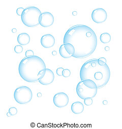 Soap bubbles on white background, vector illustration