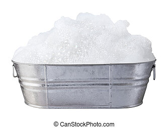 Soap Bubbles in a Tub isolated on a white background
