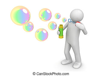 Soap bubbles - Lifestyle collection - 3d characters isolated...