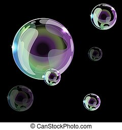 Soap bubbles on a black background. Can be used as a seamless pattern or background. Vector illustration.