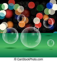 Soap Bubbles on Blurred Lights Background