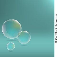 soap bubbles on cyan