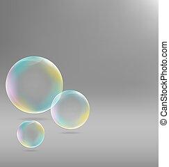 soap bubbles on grayscale