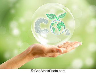 Soap bubbles on green natural background - Soap bubbles on...