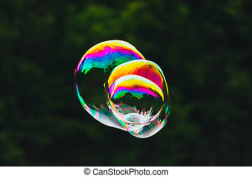 soap bubbles on green nature background