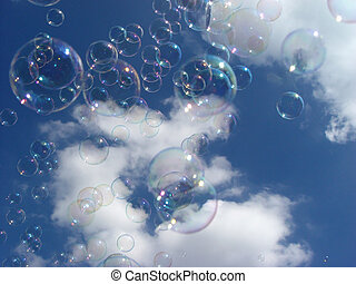soap bubbles - in front of a cloudy sky