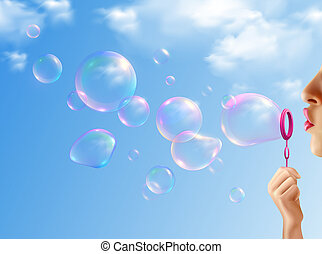 Soap Bubbles Realistic Background
