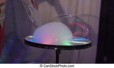 Soap bubbles show closeup shot