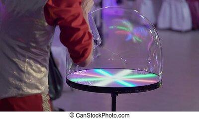 Soap bubbles show closup shot
