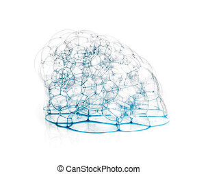 Soap bubbles with a blue tint in the form of caps isolated on white background.
