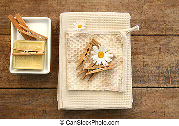 Soap, clothespins and towels