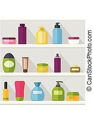 soap., conjunto, botellas, champú, estante, frascos, cosmético, tubos, gel, cosmetics., rociar, vector, plantilla, crema, illustrtaion, shadow., witj