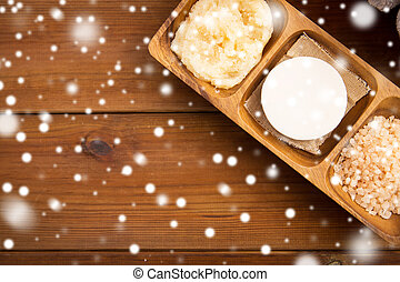 soap, himalayan salt and body scrub