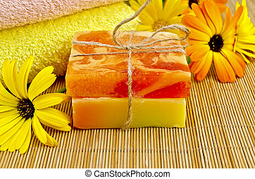 Soap homemade orange and yellow with marigold