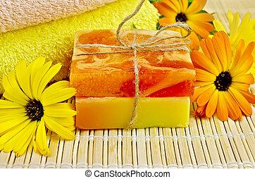 Soap homemade with calendula