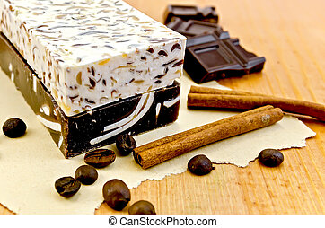Soap homemade with chocolate and cinnamon - Two bars of...