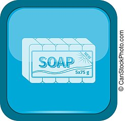 Soap icon on a blue button