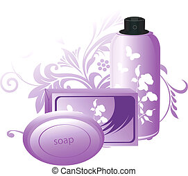 Soap - Illustration of bathing soap and lotion