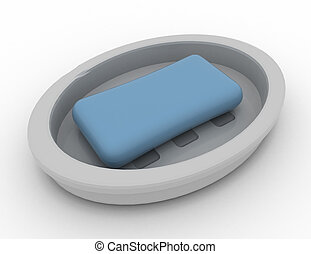 Soap in a soap tray on a white background 3D RENDERED illustration
