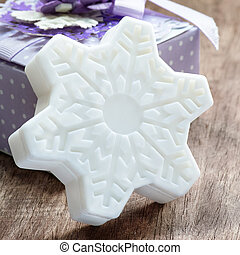 Soap in the shape of snowflake