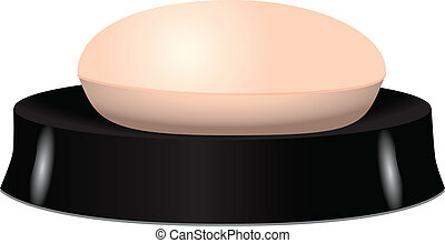Pink soap in soap dish. Vector illustration.