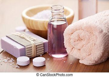 soap., körperöl, hintergrund, kräuter, spa, wesentlich, ...