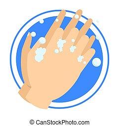 soap., koszos, hands., mosás, kéz