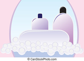 soap - lather on the background of bottles in the bathroom