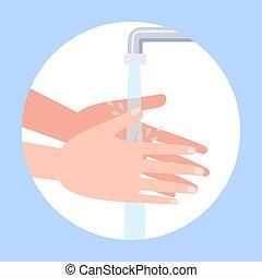 soap., lavando, lavagem mão, mãos sujas