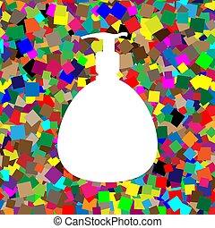 soap., liquide, silhouet, mousse, plastique, pompe, bouteille, distributeur, gel, ou