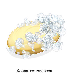 3d rendering illustration, oval soap, bubbles on white background
