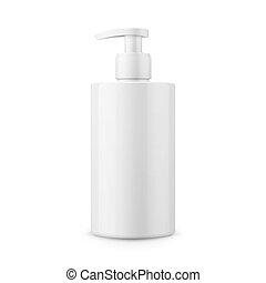 soap., palack, folyékony, műanyag, sablon, fehér