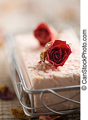 Soap - Pink bar of soap with dried roses
