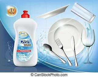 soap., platte, dishwashing flüssigkeit, sauber, cutlery.